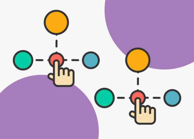 Esquema de un diseño de interacción: una mano sobre un punto que se divide en tres puntos.