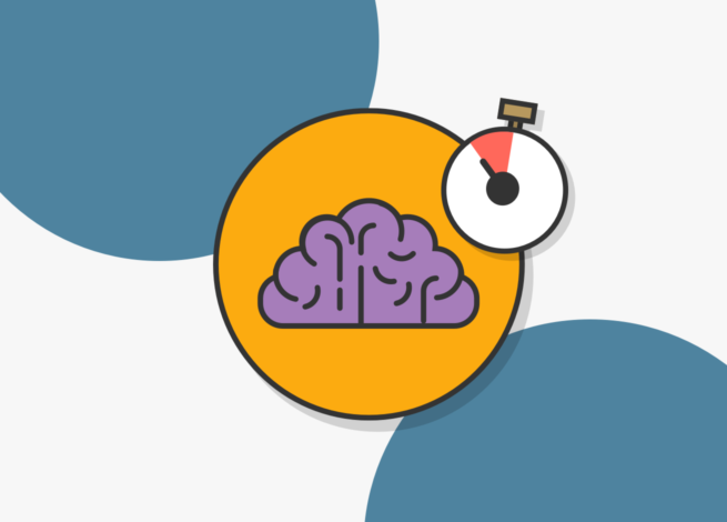 Cerebro con un contador de tiempo por encima.