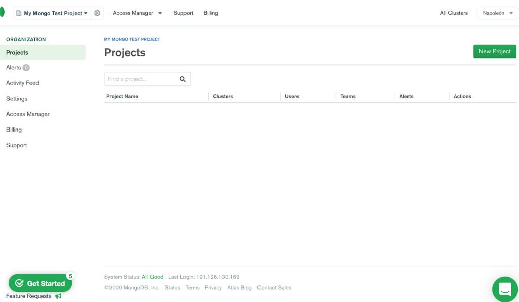 Gestión de proyectos MongoDB Atlas.