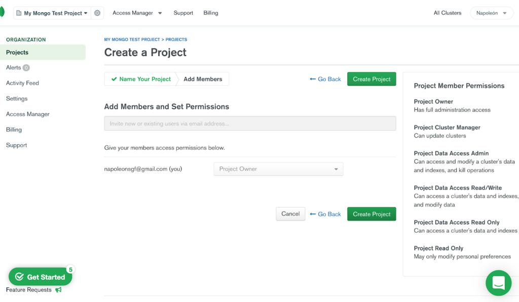 Permisos para miembros en MongoDB Atlas.
