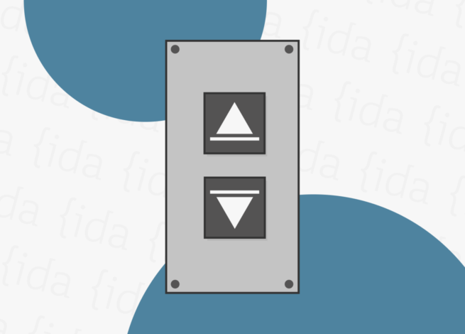 Botones de un ascensor que nos indican dos posibilidades: subir o bajar. Esto se logra gracias al affordance.