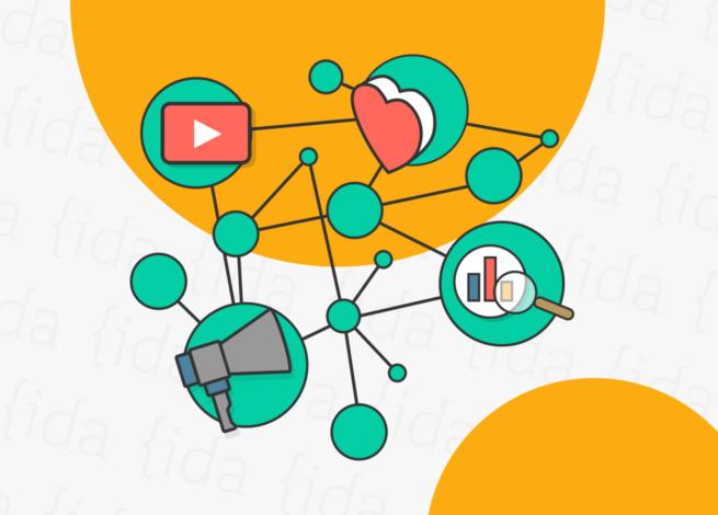 Íconos de algunas redes sociales en una red de puntos verdes que simbolizan el Green Marketing.