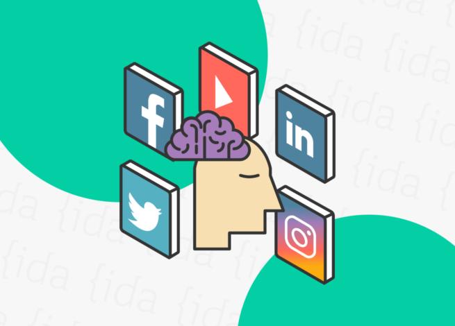 la cabeza y el cerebro de una persona rodeada de los íconos de redes sociales demuestran el estado de ánimo y los hábitos positivos que debemos seguir.