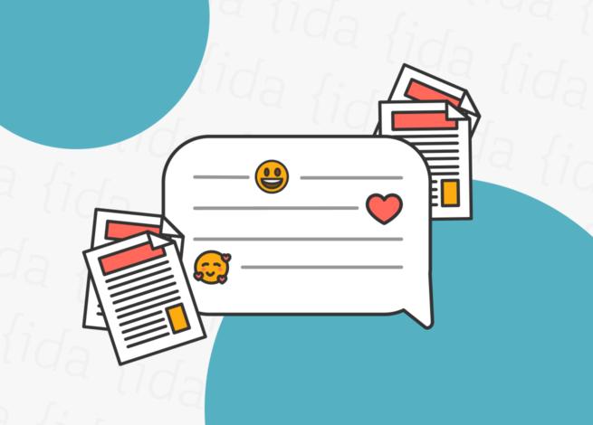 Una burbuja de texto, con dos documentos a su alrededor que reflejan los manuales de voz y tono.