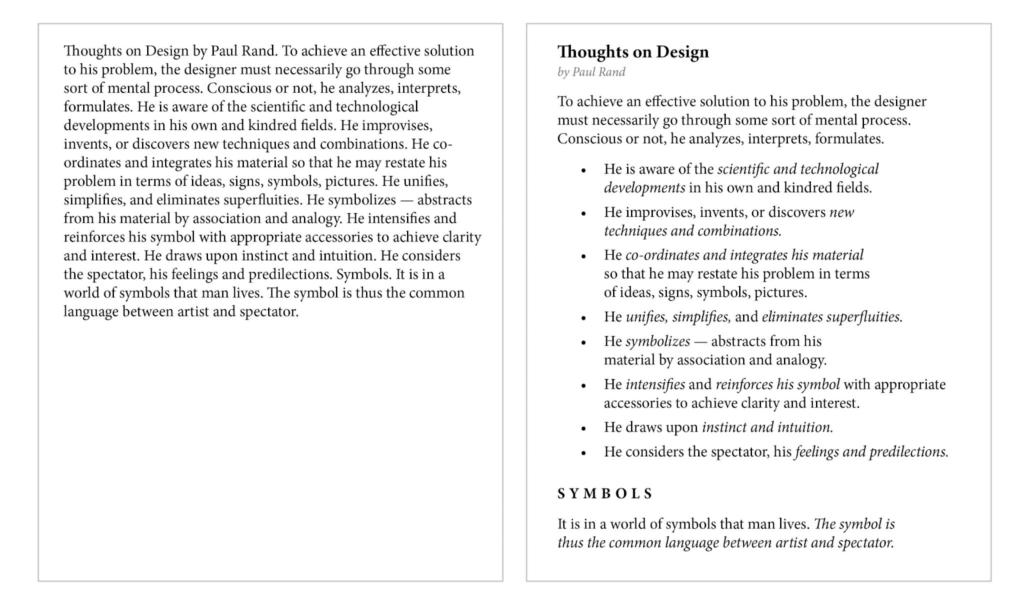 Texto donde se ejemplifica la jerarquía visual