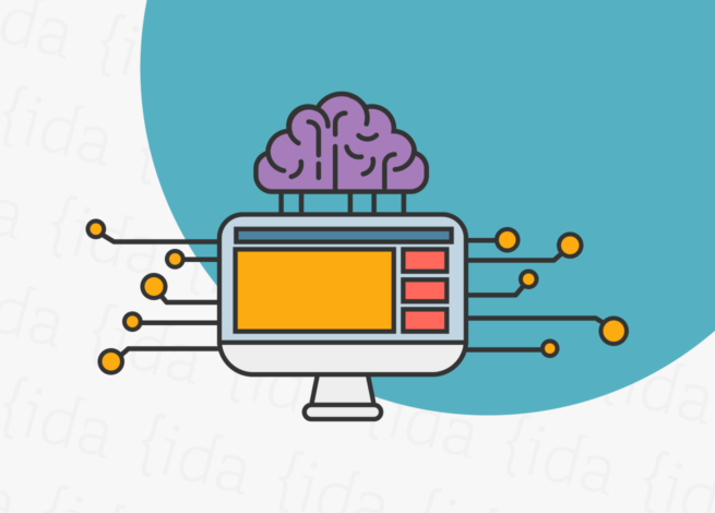 Computador con un cerebro encima de él, lo que refleja a la inteligencia artificial y al día mundial de la usabilidad.