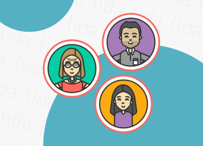 tres personas adentro de círculos que representan las stories.