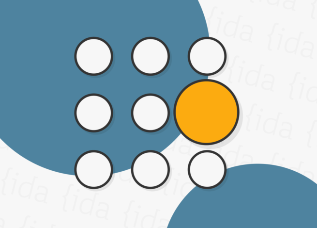 Nueve círculos ordenados y uno que resalta según su tamaño y se resalta el más grande.