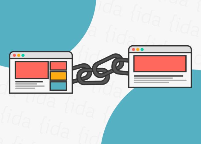 Dos sitios web unidos por una cadena, lo que representa las backlinks.