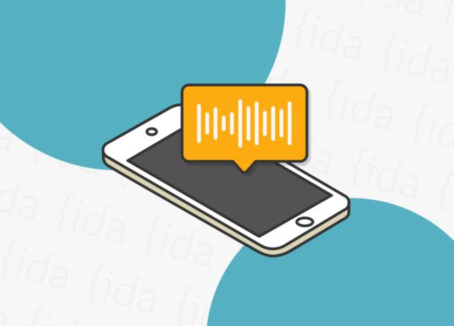 """Teléfono móvil con un recuadro que hace referencia al """"audio"""" que este emite."""