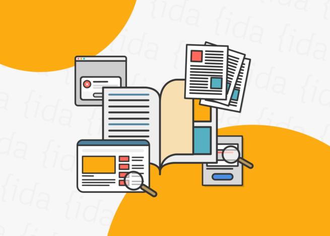Libro con interfaces a su alrededor, lo que se refiere al UX Writing