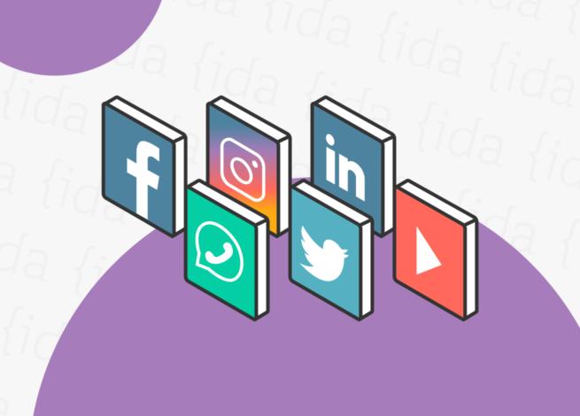 íconos de redes sociales.