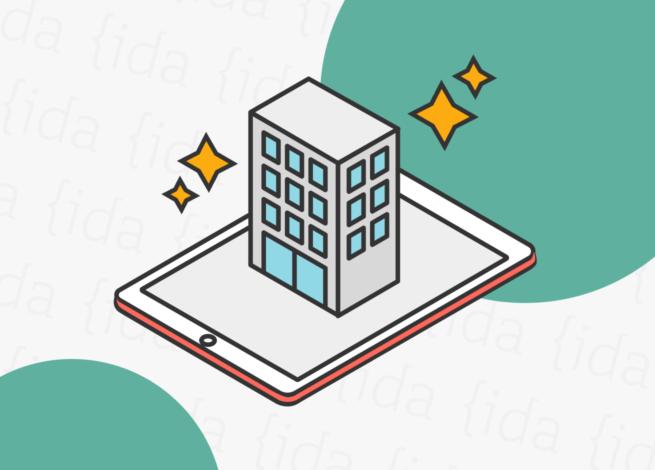 Edificio sobre tablet lo que refleja la realidad aumentada.