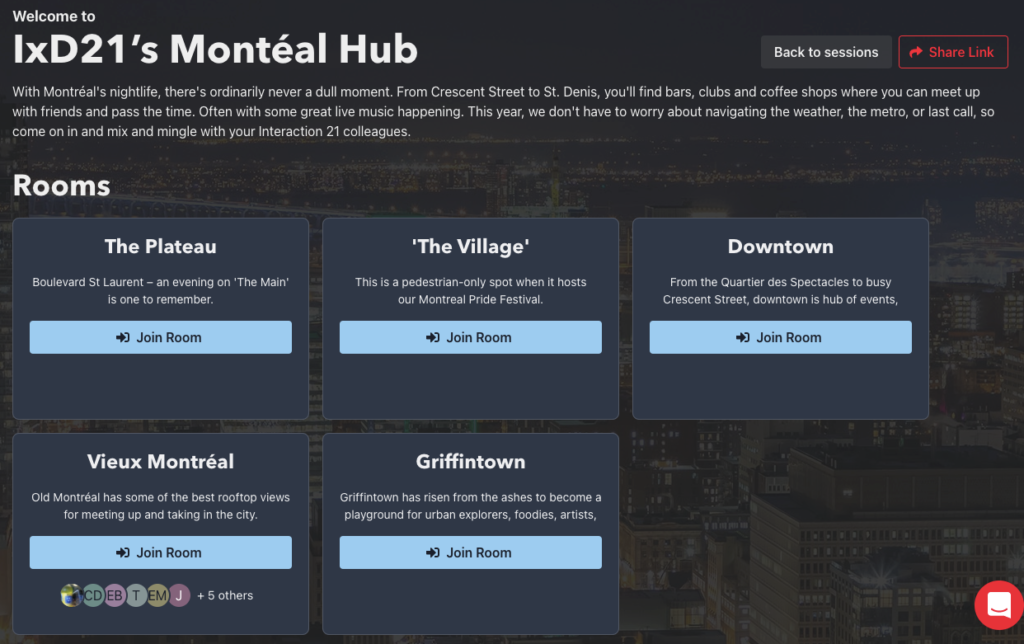 Interfaz del Montéal Hub.