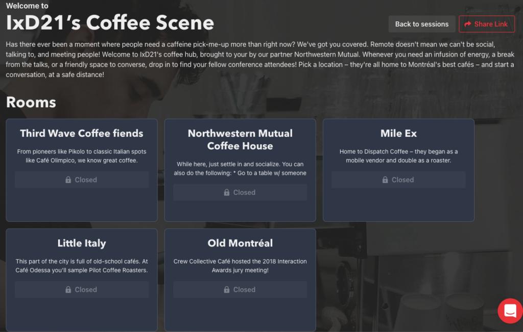 Interfaz de Coffee Scene.