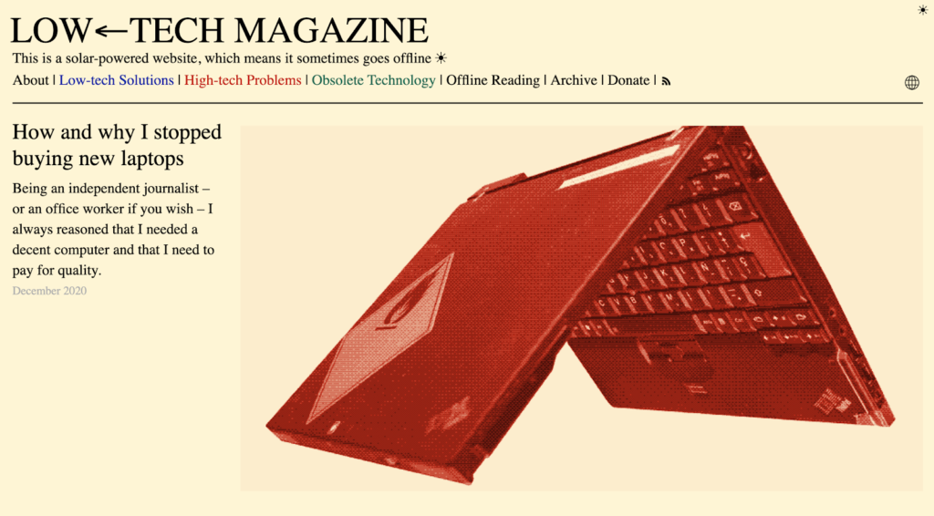 "Proyecto ""How to build a solar powered website?"" desde la revista Low-tech Magazine."