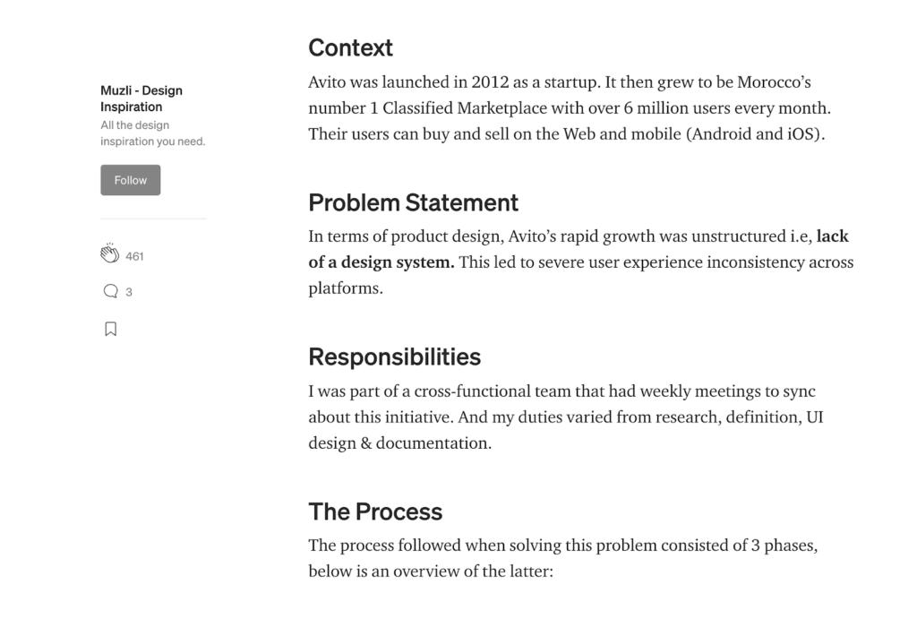 Distribución y jerarquía de los contenidos en Medium.