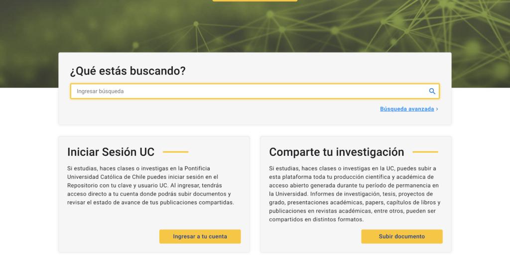 interfaz del sitio repositorio UC