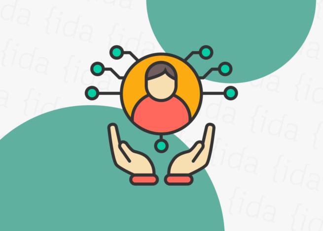 manos sujetando a una persona dentro de un círculo.