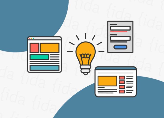 Ampolleta que refleja consejos rodeada de interfaces de usuario que hacen referencia al diseño UX/UI.