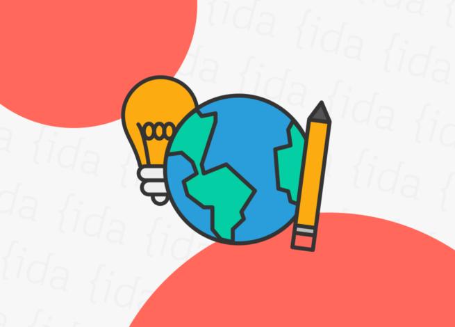 ícono del mundo, acompañado por una ampolleta y un lápiz.