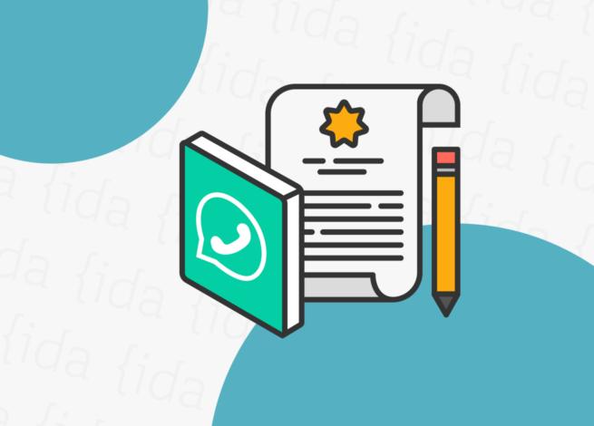 Logo de WhatsApp con una lista de términos y condiciones a su costado