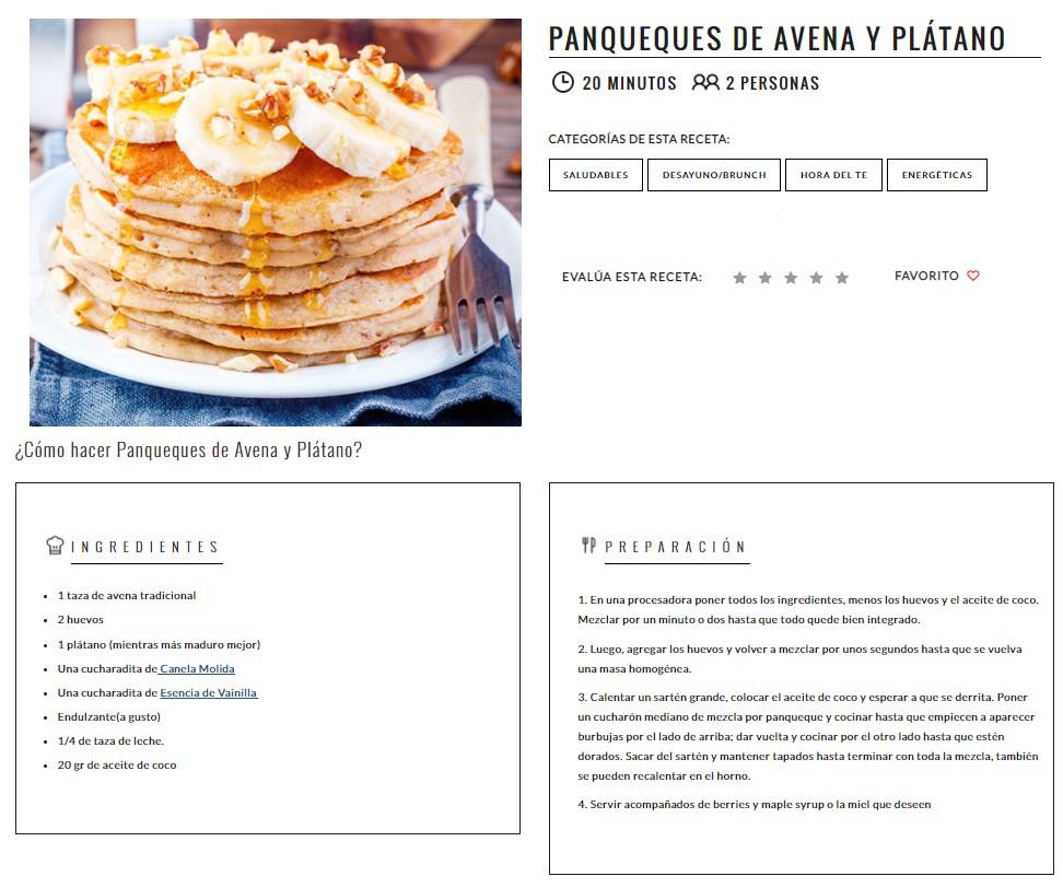 Receta de panqueques de avena y plátano, en la cual existe una imagen de referencia, título, ingredientes y preparación. Además, este ejemplo hace referencia a los estándares mínimos de accesibilidad en un sitio.