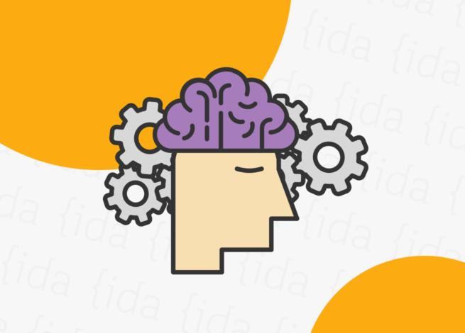 cabeza de persona con su cerebro y engranajes detrás, haciendo referencia a la accesibilidad física, sensorial y cognitiva.