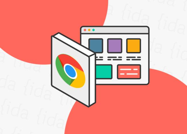 Logo de Google Chrome con extensiones a un costado.