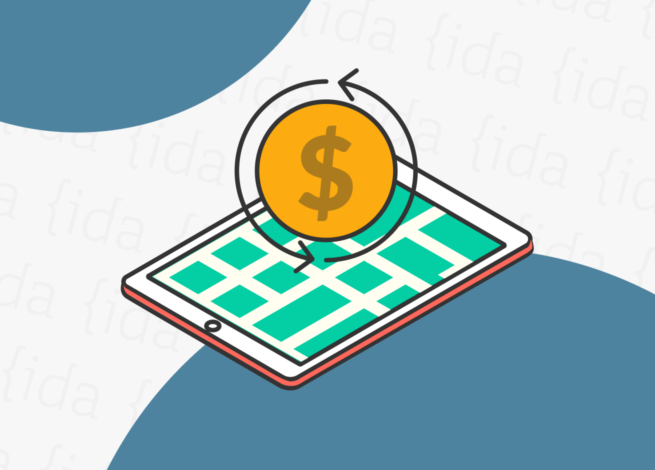 Tablet con símbolo de dinero en su parte superior y dentro del dispositivo se observa un plano de una ciudad.
