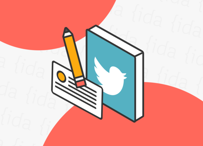Logo de Twitter con un lápiz a un costado y un tweets abajo.