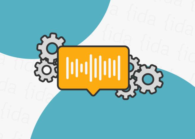 icono de mensaje que hace referencia a un audio con iconos de herramientas a sus costados.