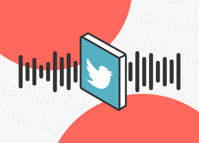 Logo de Twitter con audio detrás, que hace referencia a Spaces.
