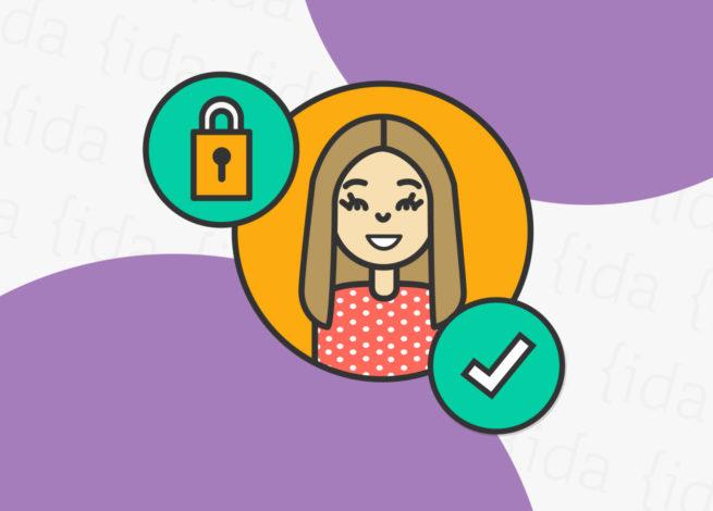 persona con candado a su lado y check de verificación, lo que hace referencia a su identidad.