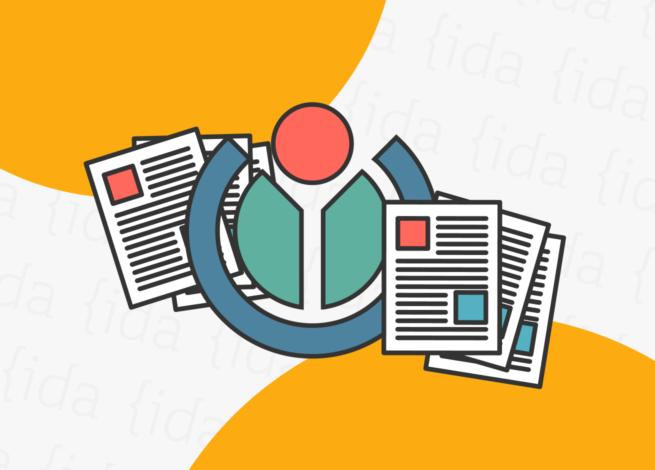 Logo de Wikimedia con documentos a sus costados.