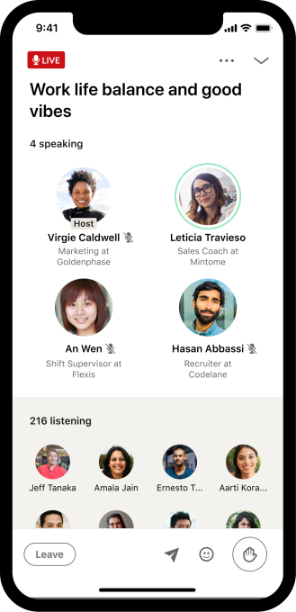 Interfaz de salas de audio de LinkedIn