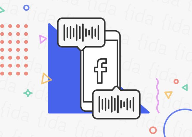 icono de Facebook en un celular con iconos a su alrededor que hacen referencia a los audios.