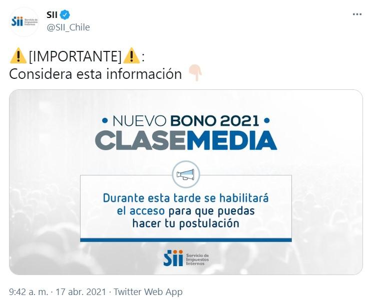 Mensaje en Twitter del SII.