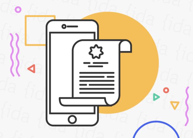 ícono de celular que hace referencia a Apple con un documento a su costado por la nueva actualización de su sistema operativo.