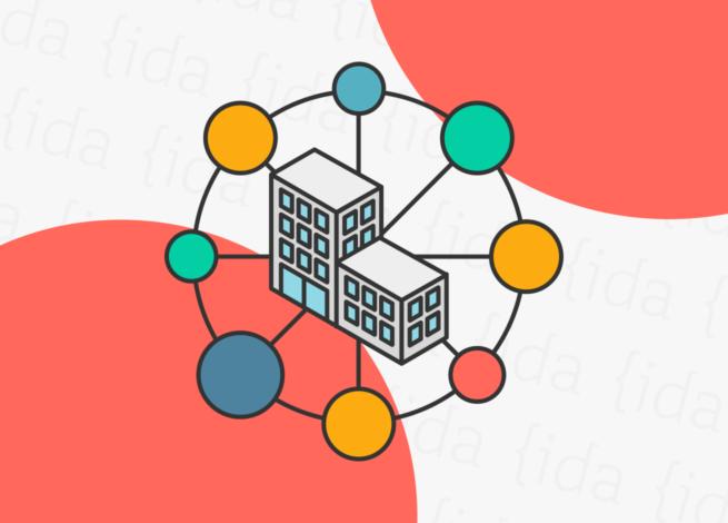 ícono de una organización con círculos a su alrededor que hace referencia a la transformación digital.