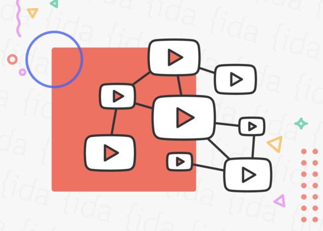 Logo de YouTube en un entramado que hace referencia a su algoritmo.
