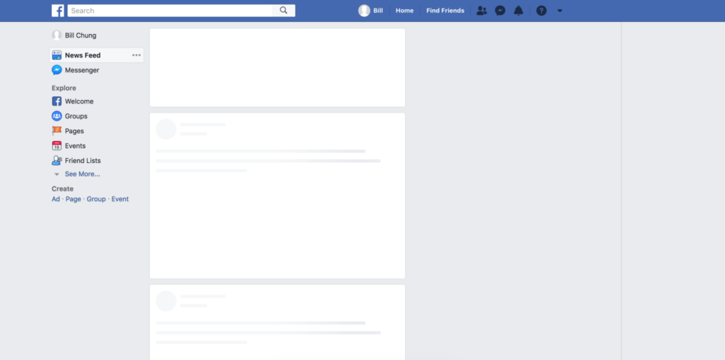 Skeleton Screen de Facebook