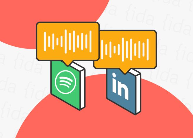 Logo de Spotify y LinkedIn con iconos de audio en la parte superior.