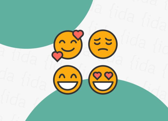 cuatro emojis , que hacen referencia a estados de ánimo y la accesibilidad web.
