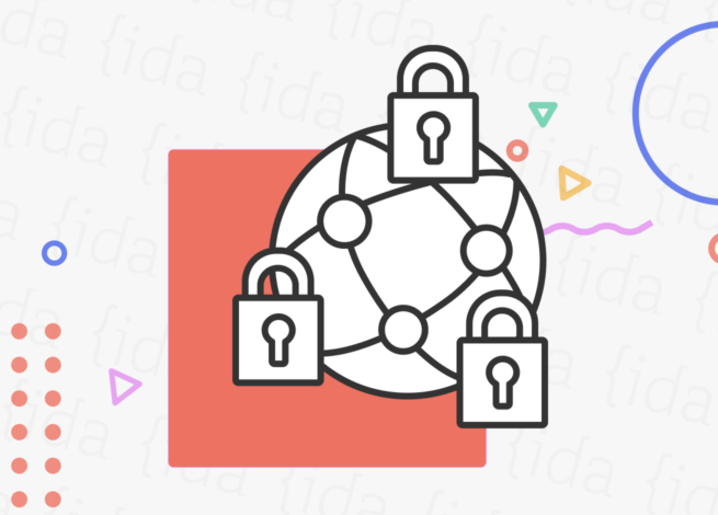Iconografía de un mundo con conexiones y candados en la parte exterior.