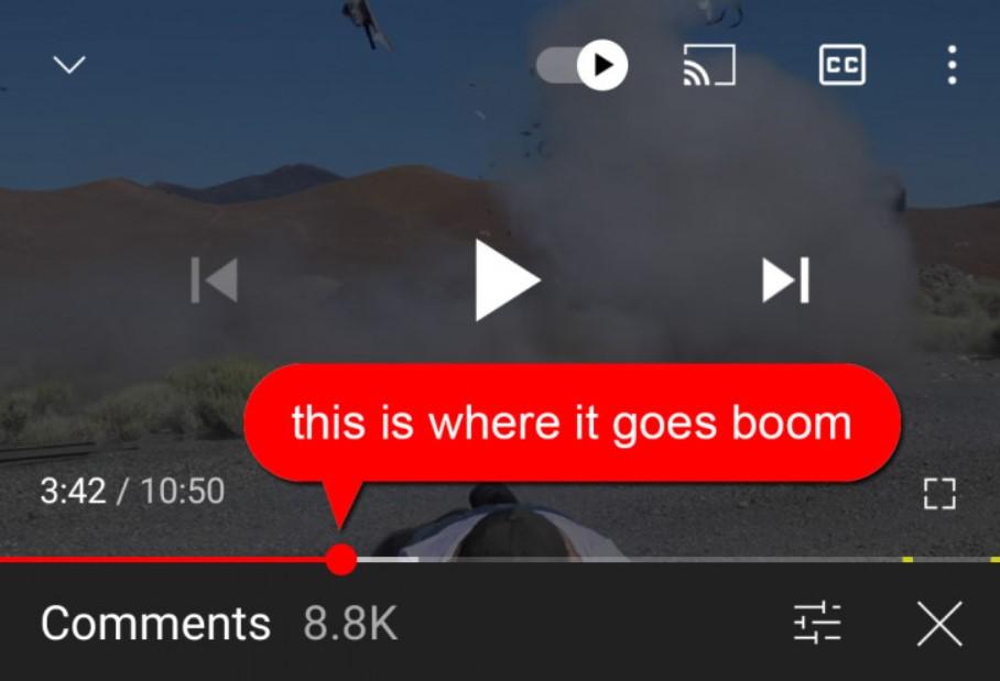 Comentarios contextuales en YouTube.