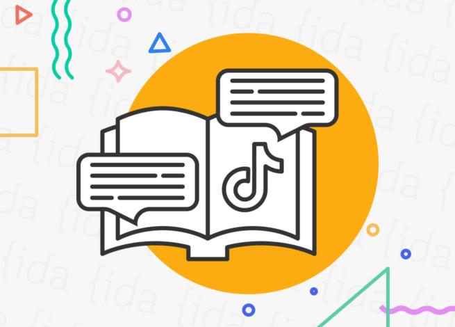 Libro que hace referencia a contar a una historia y que tiene el logo de TikTok en una de sus páginas.