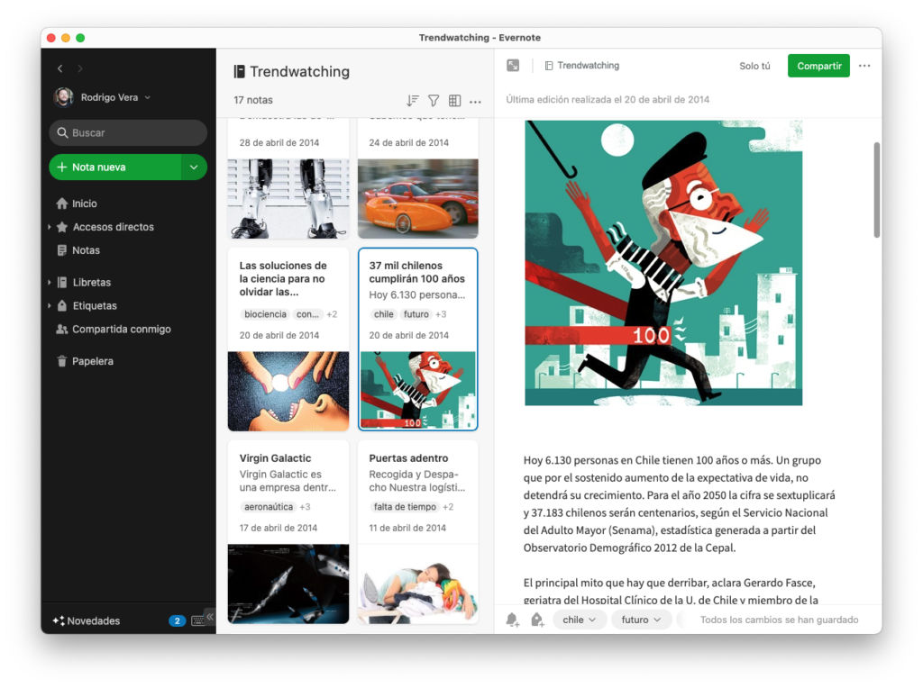 Plataforma de Evernote para realizar procesos de Trendwatching