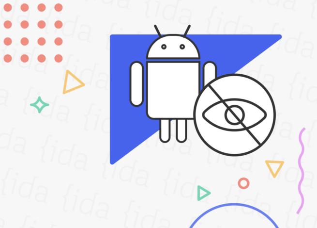"""Logo de Android con un ojo dentro de un signo de """"prohibido""""."""