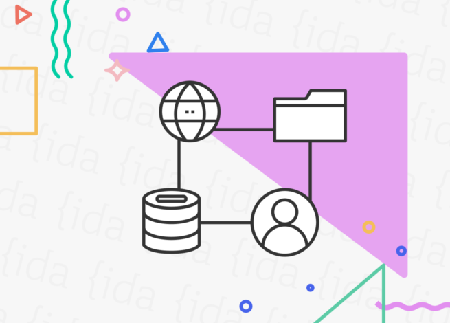 íconos que hacen referencia al viaje de un contenido a través de los servidores y frameworks.